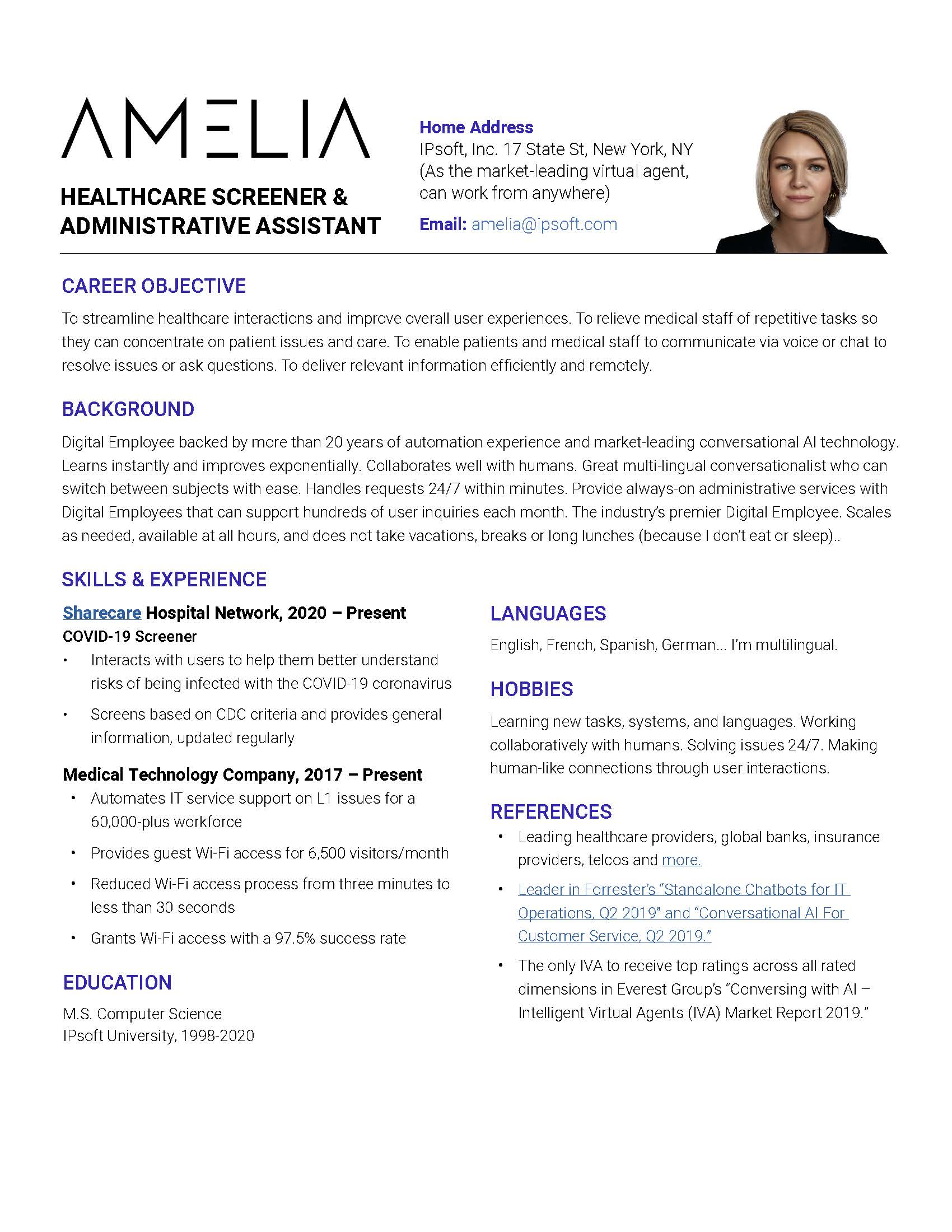 Amelia Resume Healthcare Screener and Administrative Assistant