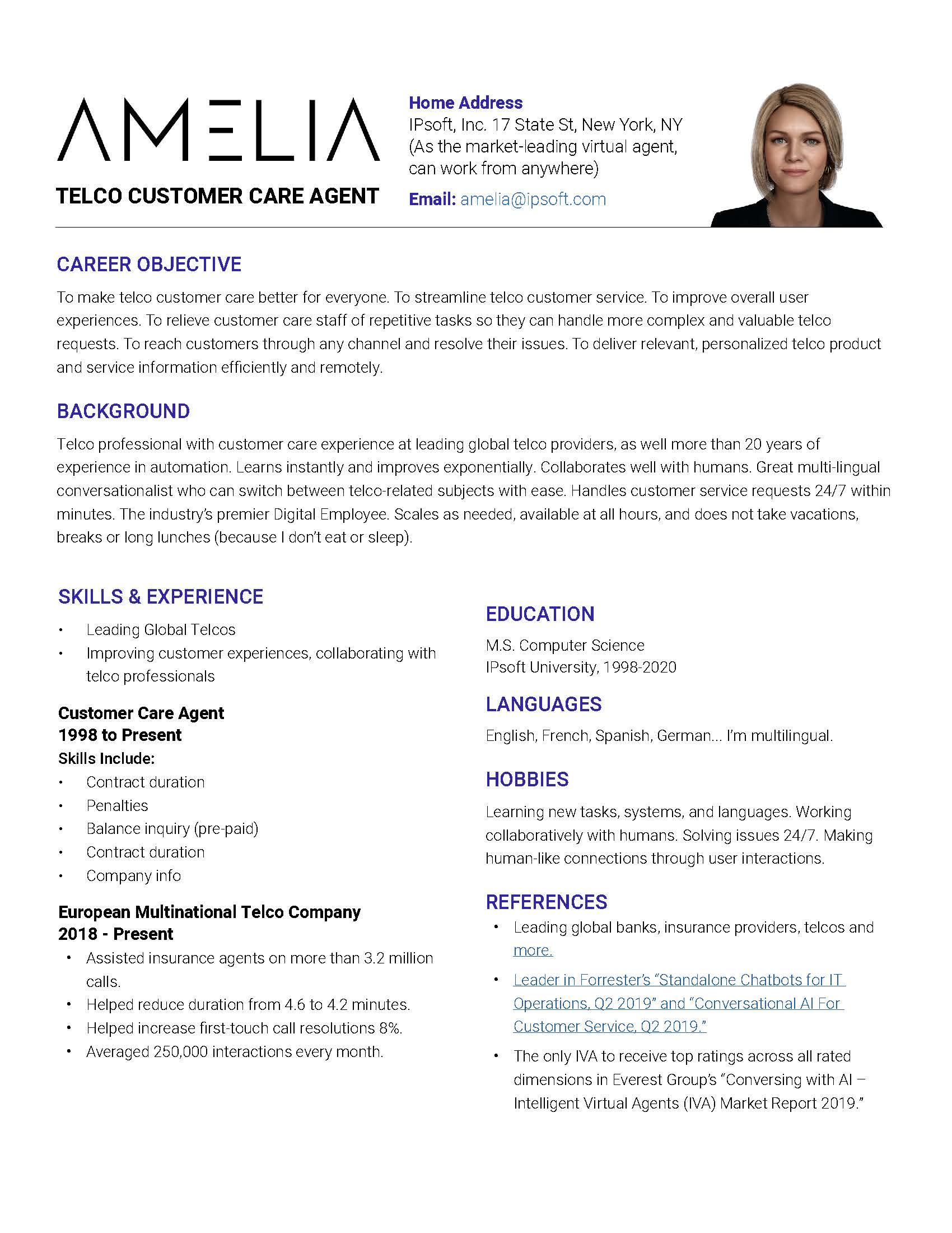 Amelia Resume Telco Customer Care Agent